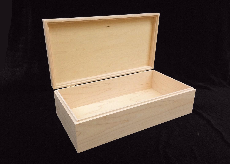 Unfinished Wood Box W Hinges 13 3 4 X 7 1 4 X 4 Unfinished