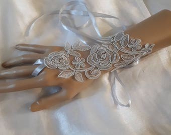 pair of fingerless gloves gray lace, silver bridal wedding ceremony satin bracelet