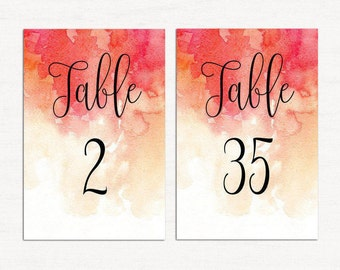 Red wedding table numbers printable Fall wedding Table number cards Watercolor wedding Table decor Romantic wedding Autumn wedding W22