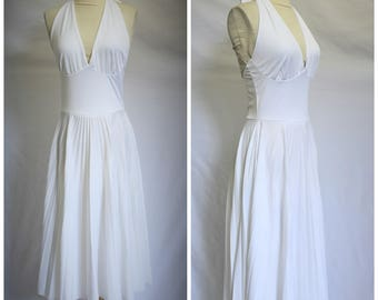 Vintage 60's 70's White Halter Micropleated Skirt Marilyn Dress