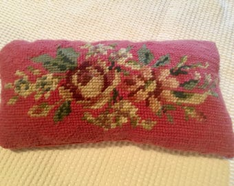 Vintage needlepoint pin holder pillow