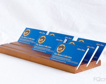Business Card Holder - Wooden - 19mm Thick - 3 Abreast - 1 to 4 Slots