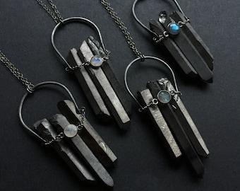 Black Crystal Crescent Gemstone Necklace