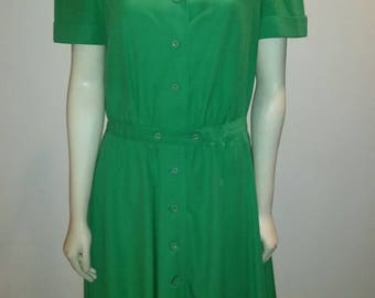 Vintage 1980s does 1960s Kelly Green Swing Rockabilly Dress VLV *Free Shipping*