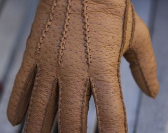 Men's Peccary Leather Gloves Cashmere lining Handsewn Handmade Winter Gloves