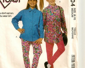 "A Long Sleeve, Collared, Long Length Shirt, & Stretch Knit Stirrup Pants Pattern: Girls Size Medium (8-10) Breast 27""-28-1/2"" ~McCall's 6204"