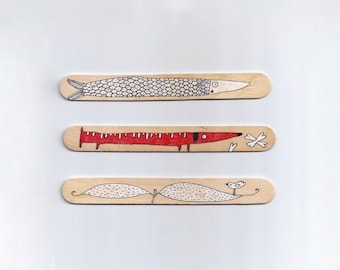 Wood Bookmarks with Unique Illustration [Animals, Nature, Cats, Fishes] - Set of 3