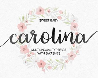 Carolina Fonts Digital font Swirly Font Script Font Digital download swash font Handwritten font calligraphy font wedding font Cricut font