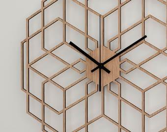 Minimalist Wall Clock - Wood Wall Clock Hexaflower, Living Room Clock, Geometric Decor, Silent Natural Oak Clock, Rustic Wall Clock