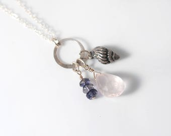 Sterling Silver SHELL necklace   Rose Quartz necklace   Silver Seashell Beach necklace   Silver Seashell jewelry   Seashell Charm necklace