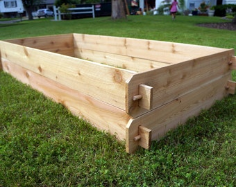 Cedar Raised Garden Bed Deep Kit (Double 3x6) Easy Garden Bed DIY Raised Bed No Tools Gardening Gift Idea Gardener Christmas Retirement Gift