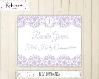 Lavender communion welcome sign baptism sign girl baptism sign confirmation welcome sign printable sign lavender lilac 169