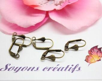Lot 10 pairs of earrings brackets Bronze 17x10mm