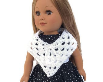 18 Inch Doll Poncho, Crocheted Poncho, Sparkly White, Summer Doll Clothes