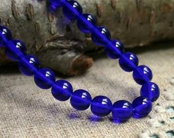 50pcs Preciosa Czech Pressed Glass Beads 8mm Druk Round Cobalt Blue 8mm 16in