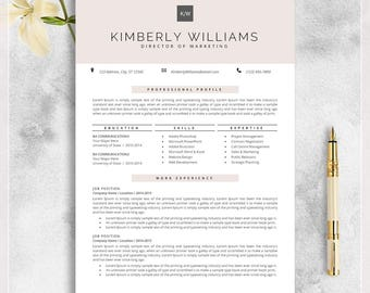 Professional Resume Template, CV Template for MS Word, Creative Resume, Modern Design, Teacher Resume, Instant Download