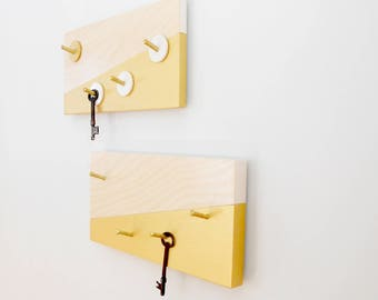 KEY HOLDER: Modern Wall Mount Key Rack Entry Organizer Key Organization Hooks Geometric Home Decor with Brass Wood Gold