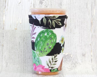 Green Cactus Cozy, Cup Cozy, Iced Coffee Cozy, Cup Sleeve, Cactus Coffee Cozy, Coffee Cuff,