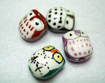 Assorted Handmade Porcelain Owl Beads (Qty 4) - B2605