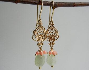 Prehnite and Coral Ayurvasita I Earrings