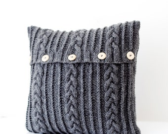 Hand knitted dark gray  pillow cover - aran design cable knit decorative cushion cover - pillow throw - handmade home decor 16x16   0092