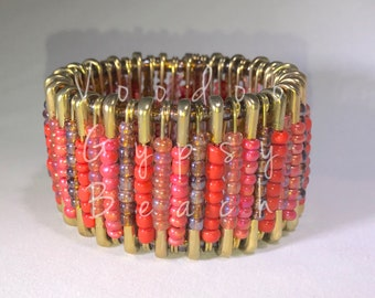 Beaded safety pin cuff bracelet