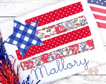 Patriotic Flag Fourth of July Applique Shirt For Girls