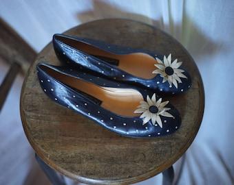 Maud Frizon Paris 90's daisies polka dots leather ballerinas, size 38 french, 5 UK