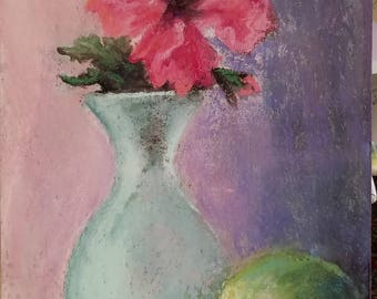 Pink Hibiscus in turquoise frosted glass vase, with Granny Smith Apple, original pastel painting.