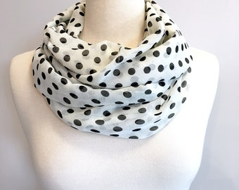 Black and White, Polka Dots, Infinity Scarf, Women's Scarf, Spring Scarf, Mother's Day Gift, Gift for Mom, Sheer Scarf, Lightweight Scarf