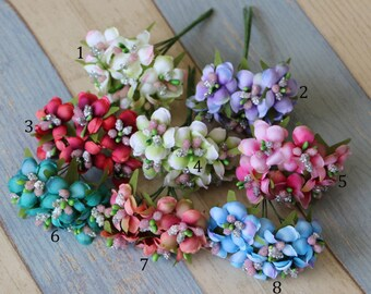 Bunch of 6-Wired Millinery Stamen Flowers, Easter and Christmas Flower,Pip Berry Flowers,Floral Bunches,Scrapbooking Wedding Favor Crafts