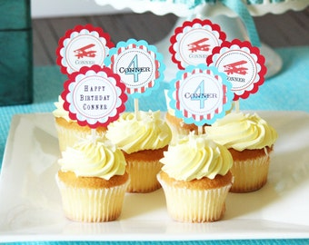 Vintage airplane birthday Cupcake Toppers