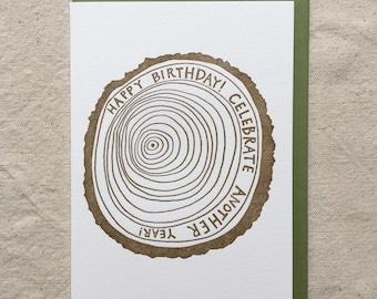 Tree Ring Birthday Letterpress Greeting Card