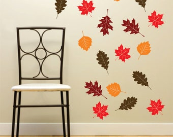 Fall Leaf Wall Decals Set of 20 autumn leaves Vinyl Rub On Decorations - fall decorations - school - maple oak tree leaf wall decals