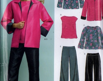 New Look Sewing Pattern 6411 Womens Jacket, Sleeveless & Long Sleeve Top and Pull-on Pants -- Sz. 10-12-14-16-18-20-22