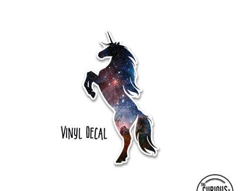 Unicorn Vinyl Window Decal Space Version 2 - Use on Cars, Electronics, Mirrors or More! Indoor or Outdoor Use