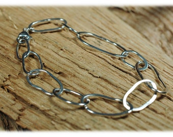 Hammered .925 Sterling Silver Link Bracelet  Recycled Sterling Hand Forged Free Form Chain Links Organic Large Hammered Links