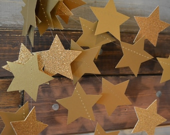 Twinkle, Twinkle Antique Gold Glittery, Shimmering Star Garland Christmas Party, Photo Prop, Christmas Tree and Holiday Decor, Etc