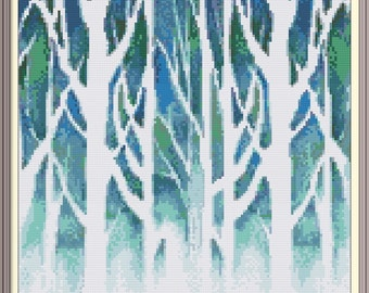 Winter Scenery Cross Stitch Pattern PDF Chart Instant Download Original Abstract Modern Artwork in Turquoise, Blue, and White