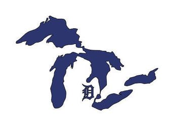 Michigan Great Lakes Vinyl Decal with Detroit Tiger Old English D