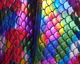 New Rainbow Multicolor Spandex Mermaid Fabric Sold by Yard
