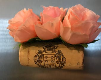 Pink rose horzontal wine cork