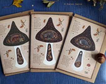 Autumn Creatures /Magical Fungi  Greeting Cards x 3 With Envelopes. Featuring Hedgehog/Badger/Red Squirrel By Karen Davis