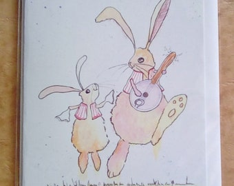 Morris Dancing Hares. A5 Blank. Father's Day. Parent and child