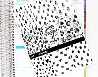 Salt & Pepper Full Box Planner Stickers - For use with Erin Condren Vertical Lifeplanner // J24