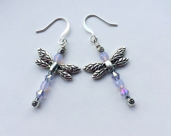 Light Purple And Silver Beaded Dragonfly Earrings