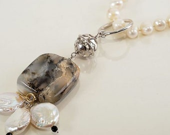 Long freshwater pearl necklace with streaked jasper Pendant