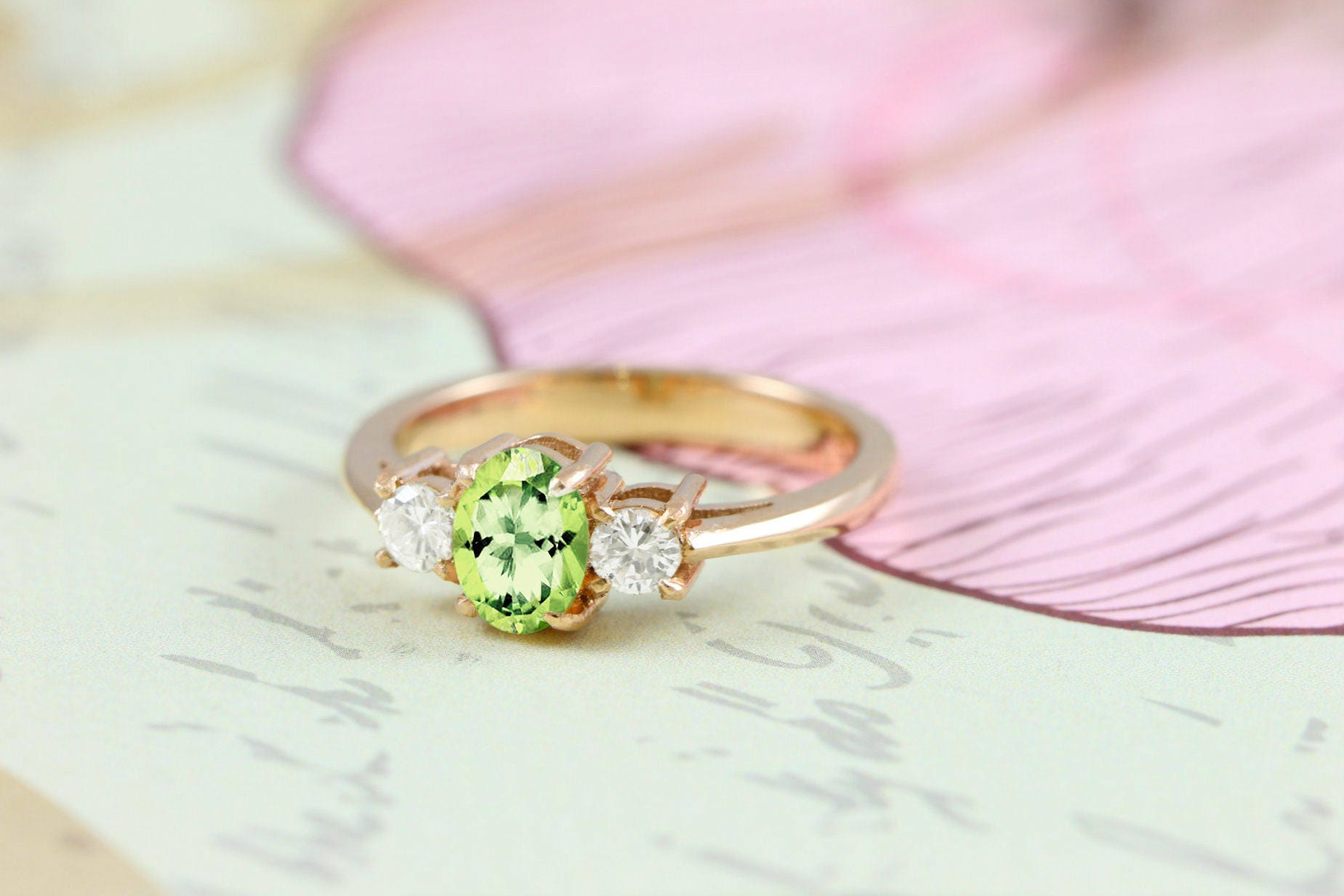 Peridot and Diamond engagement ring in 14 carat gold for her