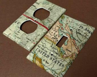 World Map Atlas Nautical  Light Switch Covers Outlet Covers