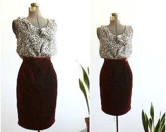 Velvet Pencil Skirt | Mad Men Knee Length Skirt | High Waisted Rust Red Velvet Skirt | Body Con Bombshell Skirt [ extra small, xs ]